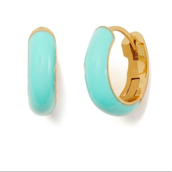 Kate Spade Turquoise Enamel Huggie Earrings